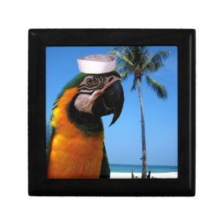 Beach Parrot Small Square Gift Box