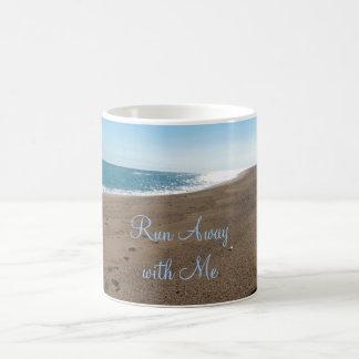 Beach Run Away with Me Quote Basic White Mug