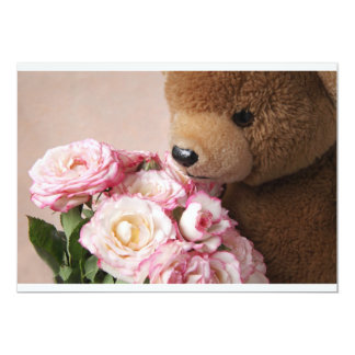 bear smelling roses small invitation