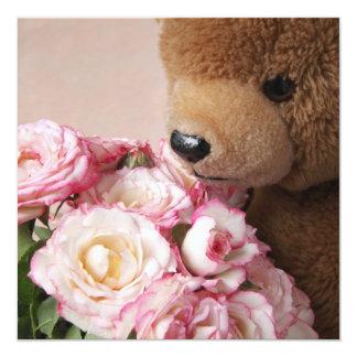 bear smelling roses square invitation