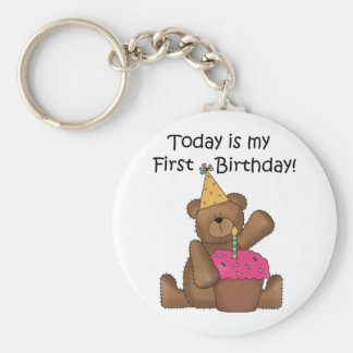 Bear with Cupcake 1st Birthday Tshirts and Gifts Basic Round Button Key Ring