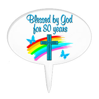 BEAUTIFUL BLUE 80TH BIRTHDAY CHRISTIAN DESIGN CAKE TOPPERS