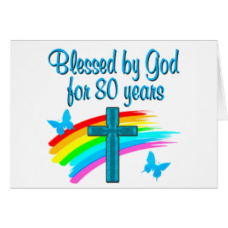 BEAUTIFUL BLUE 80TH BIRTHDAY CHRISTIAN DESIGN NOTE CARD