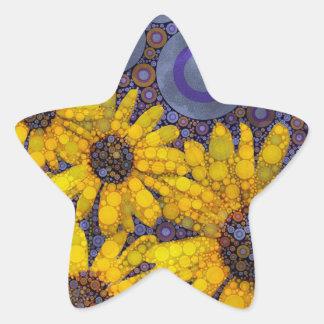 Beautiful Blue Yellow Sunflowers Abstract Star Sticker