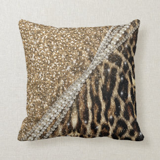 Beautiful chic girly leopard animal faux fur print cushions