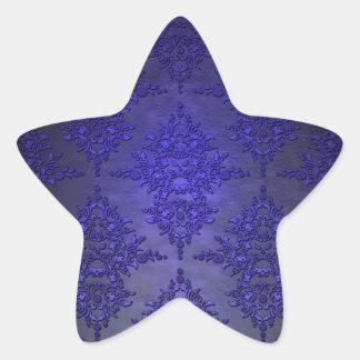 Beautiful Cobalt Blue Damask Star Sticker