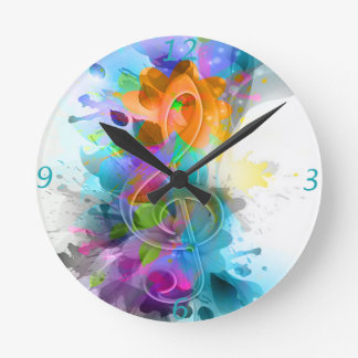 Beautiful colourful and cool splatter music note clock