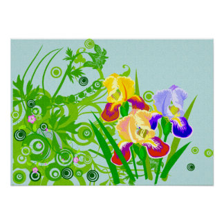 Beautiful Floral Poster or Print Iris Flowers
