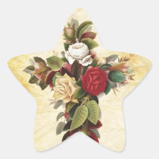 beautiful flower cross star sticker