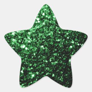 Beautiful Glamour Green glitter sparkles Star Sticker