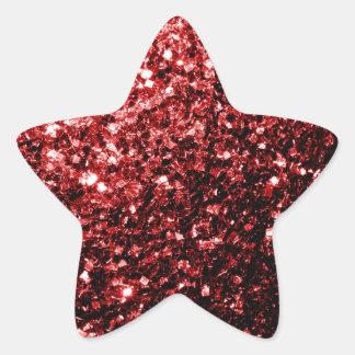 Beautiful Glamour Red Glitter sparkles Star Sticker
