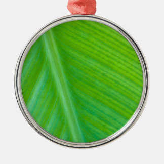 Beautiful Green Leaf Macro Photo Silver-Colored Round Decoration