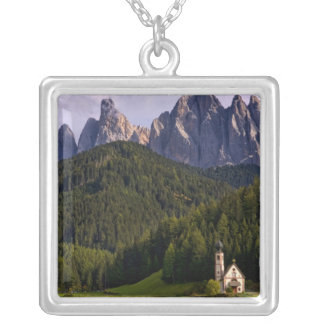 Beautiful isolated lonely church called Rainui 2 Square Pendant Necklace