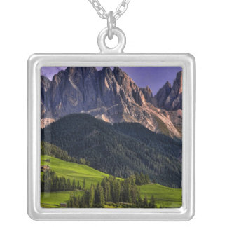 Beautiful isolated lonely church St Maddalena Square Pendant Necklace