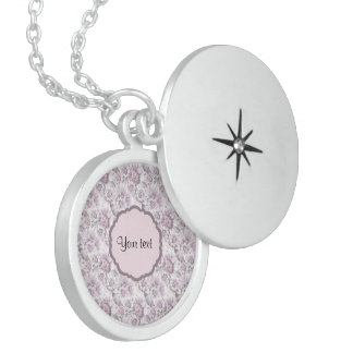 Beautiful Lilac Flowers Round Locket Necklace