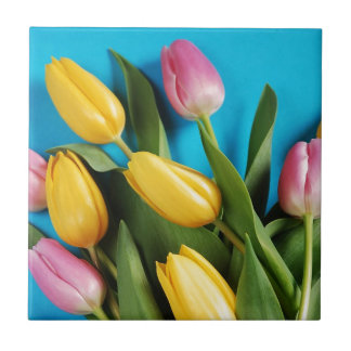 Beautiful pink and yellow spring tulips small square tile