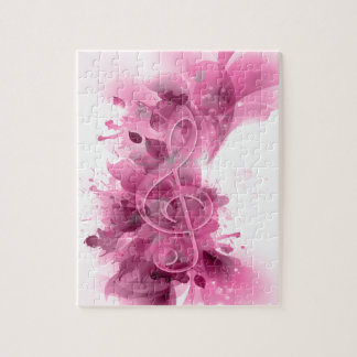 Beautiful pink grey cool splatter flowers leaves puzzles