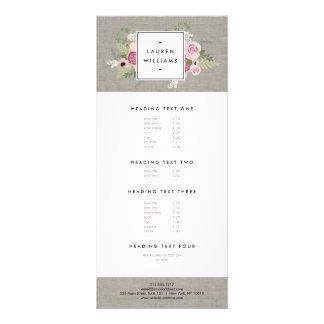 Beautiful Pink Roses on Linen Modern Elegance Rack Card Template