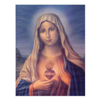 Beautiful Religious Sacred Heart of Virgin Mary Postcard