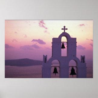 Beautiful Sunset: Santorini Fira at sunset, Greece Poster