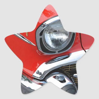 beautiful vintage classic red car star sticker