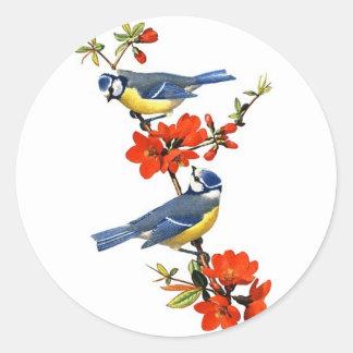 Beautiful vintage tree blossom red flowers birds round sticker
