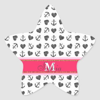Beautiful watercolor hearts anchors pattern star sticker