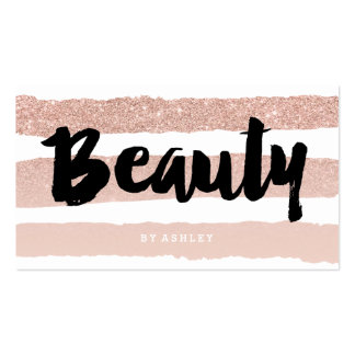 Beauty artist modern typography rose gold stripes pack of standard business cards