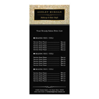 Beauty Salon Funky Gold Glitter Glamour Price List Personalized Rack Card