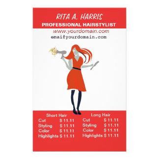 Beauty Salon Hairstylist  Hairdressing Price List 14 Cm X 21.5 Cm Flyer
