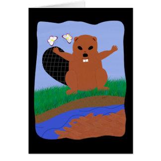 Beaver Building Dam Cartoon Art Greeting Card