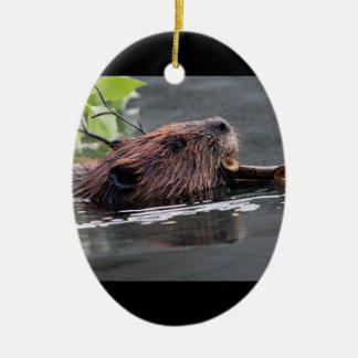beaver ceramic oval decoration
