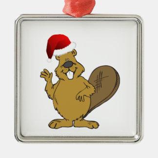 Beaver cute santa hat Silver-Colored square decoration