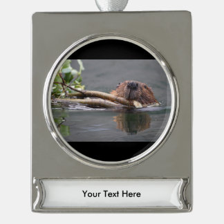 Beaver Working Silver Plated Banner Ornament