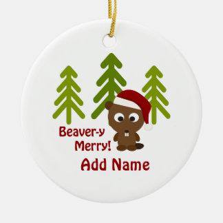 Beaver-y Merry! Christmas Beaver Round Ceramic Decoration