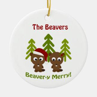 Beaver-y Merry! Christmas Beavers Round Ceramic Decoration