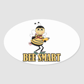 bee smart bumble bee with pencil oval sticker