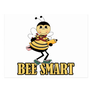 bee smart bumble bee with pencil postcard