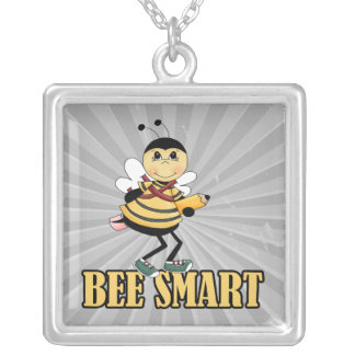 bee smart bumble bee with pencil square pendant necklace