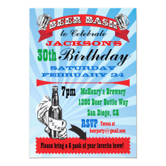 Beer Bash Birthday Party Invitations
