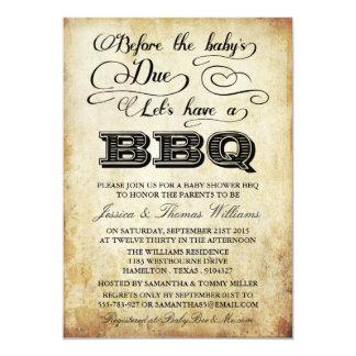Before The Baby's Due, Let's Have A BBQ! 13 Cm X 18 Cm Invitation Card