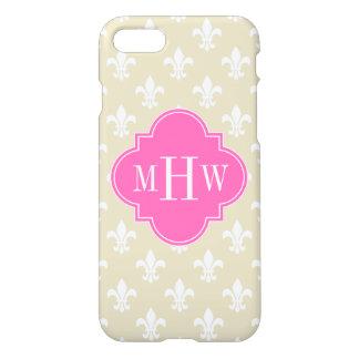 Beige Wht Fleur de Lis Hot Pink 3 Initial Monogram iPhone 7 Case