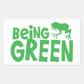 BEING GREEN with cute little frog Rectangular Sticker