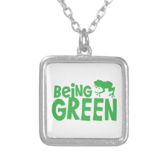BEING GREEN with cute little frog Square Pendant Necklace