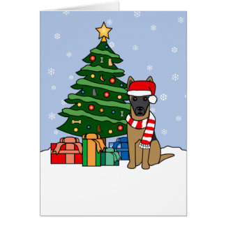 Belgian Malinois and Christmas Tree Greeting Card