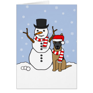 Belgian Malinois and Snowman Greeting Card
