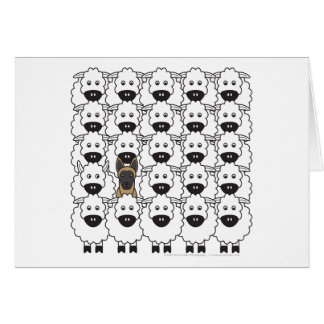 Belgian Malinois in the Sheep Greeting Card