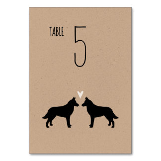 Belgian Malinois Silhouettes Wedding Table Card