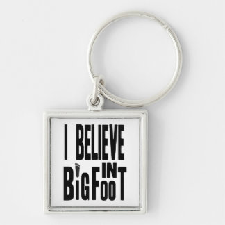 Believe in BIGFOOT - Black Silver-Colored Square Key Ring