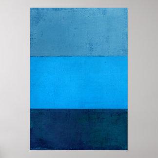 'Below Freezing' Blue Abstract Art Poster